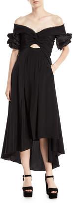 Johanna Ortiz Maria Felix Off-Shoulder Midi Dress