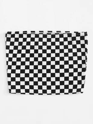 Shein Plus Checkerboard Tube Top