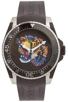 Gucci Dive Angry Tiger Watch - Mens - Black Multi