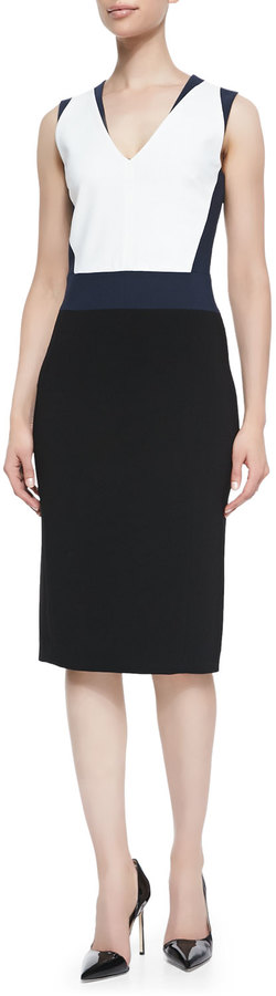 Altuzarra Crepe Colorblock V-Neck Sheath Dress