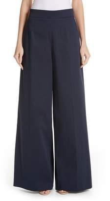 Oscar de la Renta Stretch Cotton Wide Leg Pants