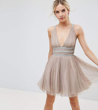 Asos Tulle Strappy Embellished Mini Skater Dress