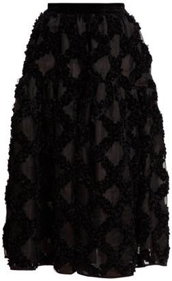 Cecilie Bahnsen - Abby Floral Applique Silk Organza Midi Skirt - Womens - Black