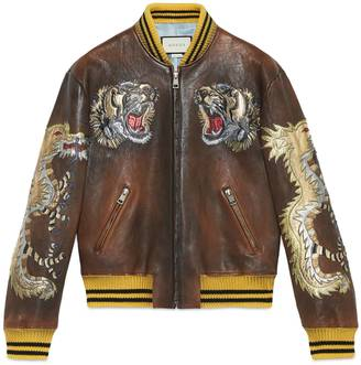 Leather bomber jacket with intarsia $7,500 thestylecure.com