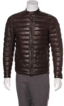 Moncler Vaal Quilted Leather Café Racer Jacket