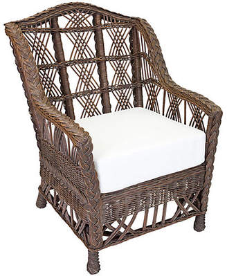 One Kings Lane Carolina Wicker Club Chair - Dark Walnut