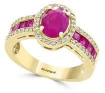 Effy Amoré Natural Ruby, Diamond & 14K Yellow Gold Ring