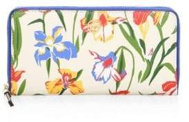 Tory Burch Robinson Floral Zip Leather Continental Wallet
