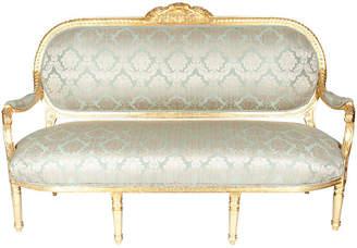 One Kings Lane Vintage Victorian-Style Giltwood - Silk Settee - La Maison Supreme