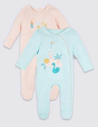 Marks and Spencer 2 Pack Pure Cotton Swan Sleepsuits