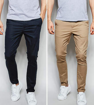 Asos DESIGN 2 pack super skinny chinos in navy & stone save