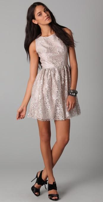 Shoshanna Metallic Lace Dress