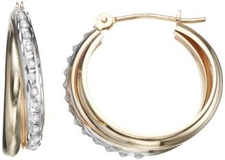 Diamond Fascination 10k Gold Interlocking Hoop Earrings