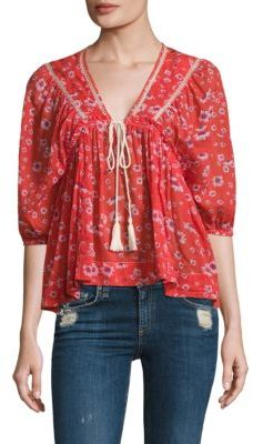 Free People Never a Dull Moment Peasant Blouse $98 thestylecure.com