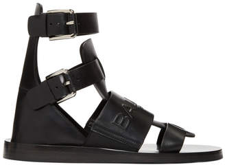 Balmain Black Chris Embossed Logo Sandals