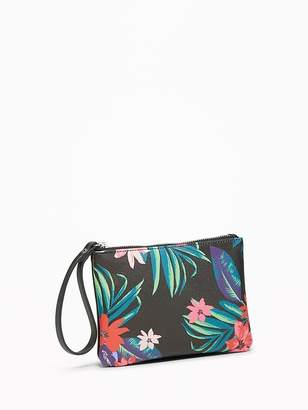 Old Navy Floral-Print Faux-Leather Wristlet for Women