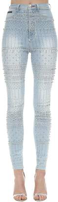 Philipp Plein EMBELLISHED SKINNY STRETCH DENIM JEANS