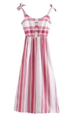 Goodnight Macaroon 'Jordyn' Striped Shoulder Strap Midi Dress