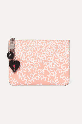 Christian Louboutin Loubicute Embellished Printed Leather Clutch - Antique rose