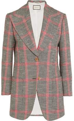 Gucci Appliquéd Checked Wool-blend Tweed Blazer - Mushroom