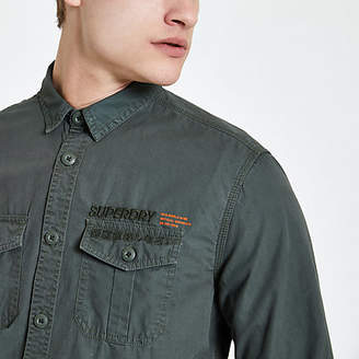 River Island Superdry dark green chest pocket shirt