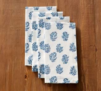 Pottery Barn Block Print Napkin, Set of 4 - Blue Floral