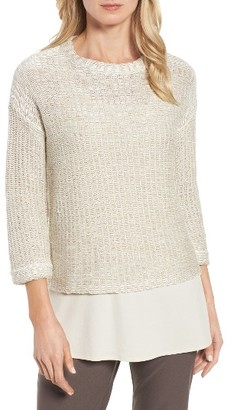 Women's Eileen Fisher Boxy Organic Linen & Cotton Top $278 thestylecure.com