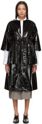 Sara Lanzi Black Vinyl Ruffle Duster Coat