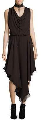 Haute Hippie Twilight Sleeveless Choker Silk Midi Dress