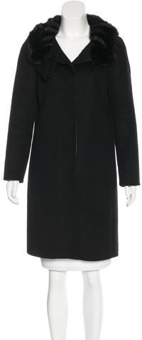 prada Prada Mink Fur-Trimmed Wool Coat