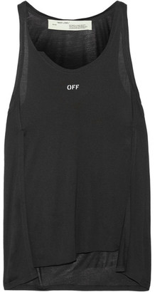 Off-White - Distressed Stretch-modal Jersey Tank - Black $295 thestylecure.com