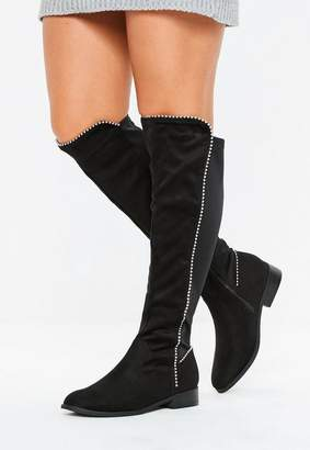 Missguided Black Faux Suede Ball Trim Knee High Boots