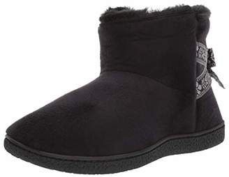 Isotoner Women's Memory Foam Nora Boot Faux Fur and Bow Detail with Indoor Outdoor Comfort Sole Slipper