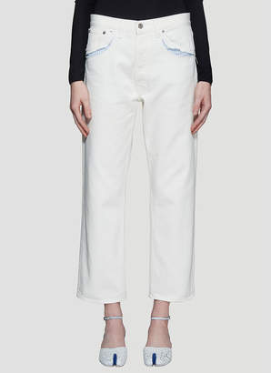 Maison Margiela Exposed Striped Pocket Jeans in White