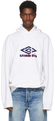 Vetements White Umbro Edition Oversized Hoodie