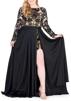 Mac Duggal Plus Size Sequin Lace Long-Sleeve Romper w/ Removable Chiffon Wrap Skirt