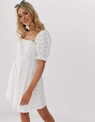 Asos Design DESIGN milkmaid broderie mini dress