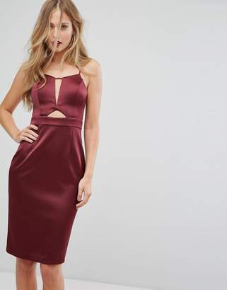 Forever New Structured Midi Dress in Satin with Cut Out