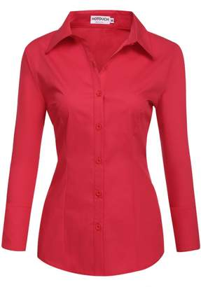 HOTOUCH Womens Dress Slim Fit Shirts Basic Designed Long Sleeve of Various Colors ( XL)