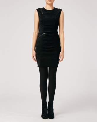 Nicole Miller Corduroy Sleeveless Tucked Dress