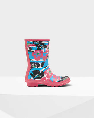 Hunter Women's Original Short Floral Stripe Rain Boots