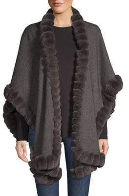 Glamour Puss Glamourpuss Rabbit Fur-Trimmed Oversize Wool Cape
