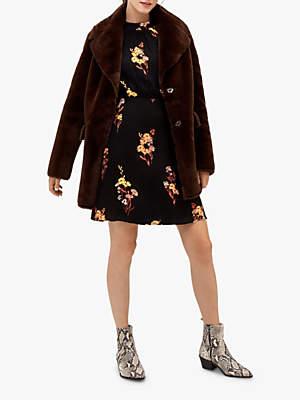 Warehouse Femme Faux Fur Coat, Choc
