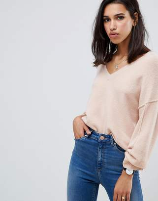 Asos Design DESIGN fluffy sweater with v neck