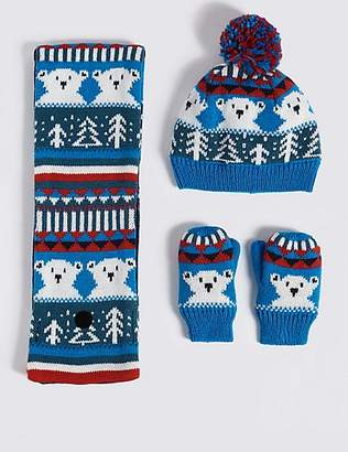 Marks and Spencer Kids' Hat & Scarf with Mittens Set