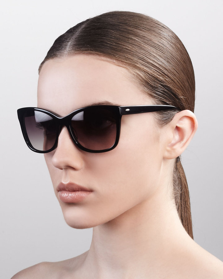 Barton Perreira Cat-Eye Sunglasses, Dark Walnut
