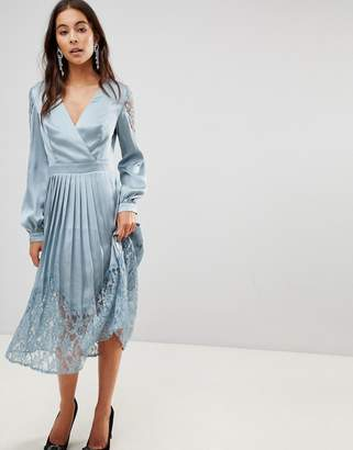 Little Mistress Wrap Front Midi Dress With Lace Pleated Skirt