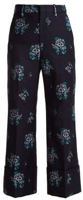 Gucci Floral Jacquard Cuffed Wide Leg Trousers - Womens - Dark Blue