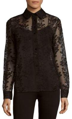 Carven Floral-Pattern Sheer Shirt