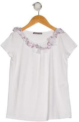 Ermanno Scervino Girls' Short Sleeve Ruffled Top